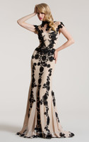 Wholesale 2013 Sexy High Collar Champange Chiffon Mermaid Evening Dresses With Black Applique and Beads