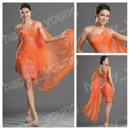 Wholesale Sexy Orange Chiffon One Shoulder Beaded and Ruffle Sheath Mini Cocktail Dress Party Gowns