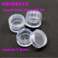 Wholesale 5g small clear round bottle jars with lids hard plastic pot nail art storage BJ06019