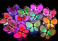 Halloween mixed  36pcs Led Flashing Butterfly Bowkno Brooch Hair Clip Ornament for Party Disco Wedding Christmas Gift