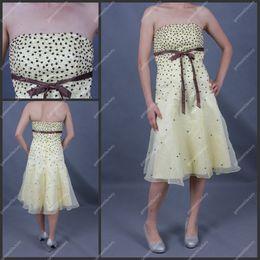 Wholesale Cheap Beaded Girls Pary Dress A Line Strapless Light Yellow Organza Club Dress
