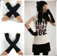 Wholesale Hot color Arm Warmer Fingerless knit Long Length Gloves Half mittens New