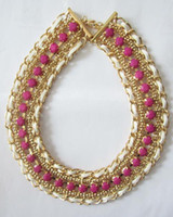 Wholesale fashion chians and fabric weave necklace neon yellow color neckalce acrylic stone nec