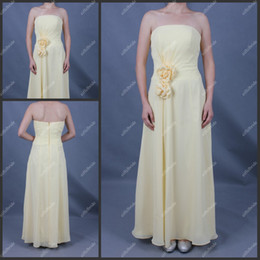 Wholesale ST072 Yellow Strapless Chiffon Evening Dress Flowers Handmade Open Back Ankle Length Long New Dress