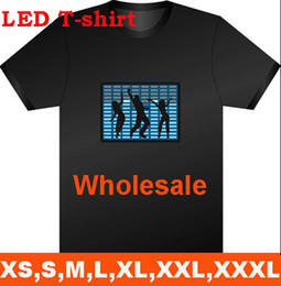 Wholesale LED Light EL T Shirt Fashion Sound Activated Light up and down new style