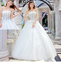 Wholesale Strapless Beaded Floral Tulle A Line Wedding Dresses New Corset Formal Bridal Gown Floor Length