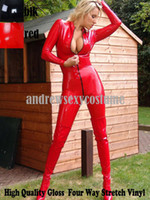 red zentai catsuit - Gothic Gloss Four way Stretch Vinyl Zentai Latex Look Shinny Bodysuit Catsuit Fetish Punk Red