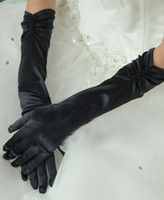 Wholesale Lace satin wedding gloves Black Elbow Length Pearl Satin Gloves Cheaper price Free Ship