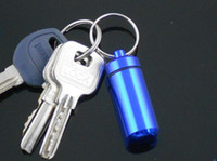 Wholesale Aluminum Pill Travel WaterProof Box Case holder Bottle Container colors with Key Ring