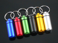 Wholesale Aluminum Pill Box Case holder Bottle Container colors Keychain with Key Ring