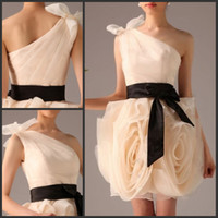 Wholesale Cheap New design One shoulder Ruffle Organza short Bridesmaid Dress cocktail dress homecoming dress