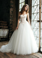 Wholesale 2013 Ball Gown Sweetheart Beaded Appliques with Pearls Drop Waist Organza Bridal Wedding Dresses