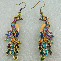 Wholesale 12pair Vintage Peacock Colorful Crystal Gold Fashion Earrings Holiday Gifts