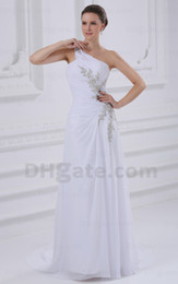 Wholesale 2013 High Qulity Most Popular White Sheath One Shoulder Sequin Applique Beach Chiffon Bridal Dresses