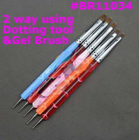 Wholesale 5 ways Steel Dotting Tool UV Gel Brush Marbleizing Pen Nail Art Decoration Tool BR11034