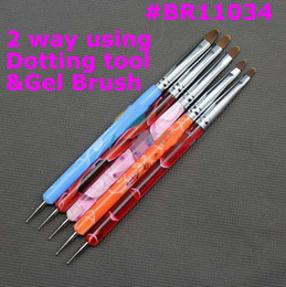 Wholesale 5 ways Steel Dotting Tool amp UV Gel Brush Marbleizing Pen Nail Art Decoration Tool BR11034