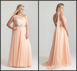 Wholesale Modest One Shoulder Plus Size Prom Dress a Long Shoulder Sash Rhinestone Belt Chiffon Gown P6786W