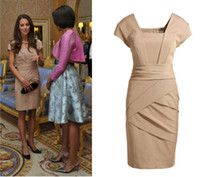 Wholesale Kate Middleton Gorgeous Wrap Dresses for Meeting with President Obama Celebrity Inspired Gowns