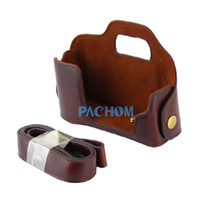 Wholesale Dark Brown Leather Camera Half Case Bag Protector for Olympus OMD EM5 OM D E M5 E5020F