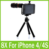 Wholesale For iphone S Telescope Telephoto Optical X Zoom Camera Lens Mini Tripod Holder Stand Case Pouch