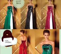 Wholesale 2012 Hot Sale Cheap Sheath Sexy Strapless Satin Evening Dress Embroidery Bridesmaid Dresses E556e