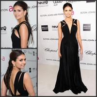 A-Line Zipper Floor-Length Nina Dobrev Black Deep V Neck Chiffon 2012 Oscar Red Carpet Dresses Celebrity Party Gowns
