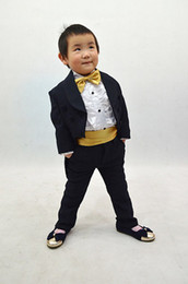 Wholesale Actual Images Boys Formal Occasion Tuxedo Polyester Boys wedding piece dark blue suit tails
