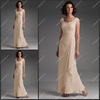 Wholesale MON110619 Straps Round Collar Mother Dress Appliques Ankle Length Chiffon Fashion Affordable Dress