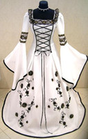 Wholesale MEDIEVAL WEDDING DRESS VICTORIAN GOTH FANCY PIRATE LARP X MAS WHITE Custom Made Best Bridal Price