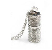 Wholesale 20pcs Lipstick Case necklace Crystal Jewel Jewelry USB Flash Pen Drive Memory Stick U disk GB