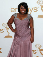 amber images - Amber Riley Emmy Awards Red Carpet Dresses Designer Chiffon Look A Like Celebrity Gowns Plus Sizes