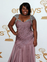Wholesale Amber Riley Emmy Awards Red Carpet Dresses Designer Chiffon Look A Like Celebrity Gowns Plus Sizes