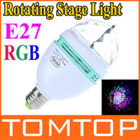 Wholesale 3W E27 Full Color LED Crystal lamp Auto Rotating Mini Stage DJ Lamp Light Bulb for xmas party H9182