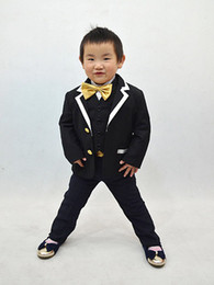 Wholesale Actual Images Coustom made Boys Formal Occasion Polyester Boys wedding piece Black suit tails