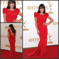 Wholesale Lea Michele Backless Red Celebrity Inspired Gown Emmy Awards Mermaid Red Carpet Gown for Sale