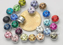 Wholesale -fashio mix color Crystal Magnetic earrings 6mm mixed order men's earrings 20pairs lot CS
