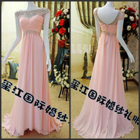 Wholesale Sparkling Beaded Short Sleeve Open Back Ruffles Chiffon Cheap Wedding Prom Sexy Evening Dresses