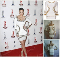 Real Photos Fashion Week Bateau 2013 Long Sleeve Evening Dresses Sexy Kim Kardashian Bateau Knitted Beaded Short Celebrity Dresses