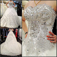 Wholesale 2014 Dazzling Alencon lace Sweetheart Crystal Applique Beads Lace Wedding Gown Floor length bride dress Wedding dresses New Custom made