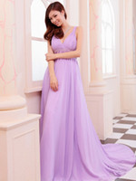 Lavender V Neck Beaded Chiffon Prom Evening Dresses 2013 Bea...