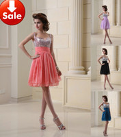 Wholesale Cheap Sexy Slim Strap Lilac Coral Black Blue Beads Chiffon Short Homecoming Party Prom dresses