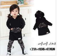 Wholesale 1 Year baby clothing Leopard grain hoodies skirts leggings girls set kids suit children sets