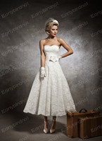Wholesale 2013 Short Beach Wedding Dresses Sexy Strapless Flower Sash Lace Tea Length Bridal Gown JA8632