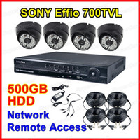 Wholesale 4CH DVR Security System SONY Effio TVL Weatherproof IR Camera IR LED Outdoor GB HDD