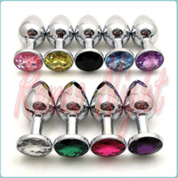 Wholesale Random Colors Metal Mini Anal Toys Butt Plug Size X30mm Booty Beads Stainless Steel Crystal Jewelry