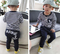 Wholesale Promotions Boys outfits stripe T shirt pants fashion sets