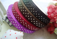 Wholesale 15 off rolls Lovely Mixed color with Dot DIY Ribbons Satin Ribbons