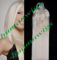 Wholesale 20 quot Remy Human Hair Made Loop Hair Extensions Platinum Blonde g