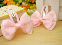 double ribbon - New Arrival Baby Girl s Polka Dots Cute Hair Pins Children s Double deck Cloth Ribbon BB Hair Clips