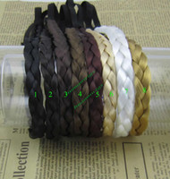 Wholesale Synthetic Hair Plaited Elastic Headband Hairband Braided Hair accessories cm width colors mix